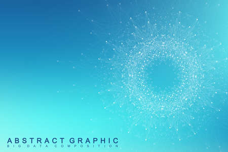 Geometric graphic background molecule and communication. Big data complex with compounds. Lines  minimal array. Digital data visualization. Scientific cybernetic vector illustration.