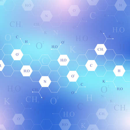 Scientific hexagonal chemistry pattern. Structure molecule DNA research as concept. Vector Illustration.
