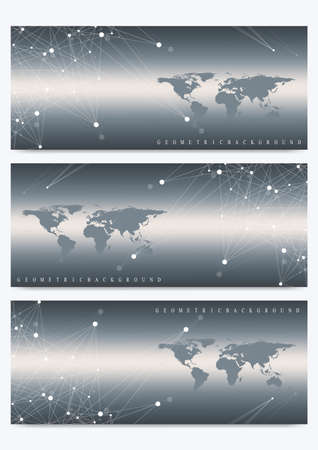 subsidiary: Modern set of vector banners with World Map. Geometric presentation. Molecule DNA and communication background for medicine, science, technology, chemistry. Cybernetic dots. Lines plexus. Card surface