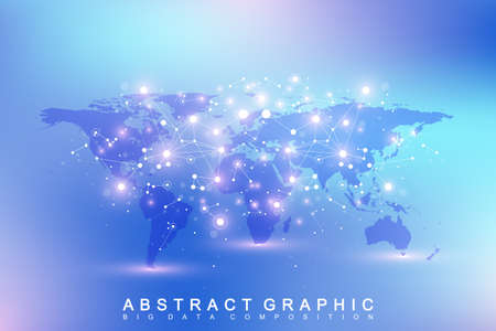 subsidiary: Political World Map with global technology networking concept. Digital data visualization. Lines plexus. Big Data background communication. Scientific vector illustration.