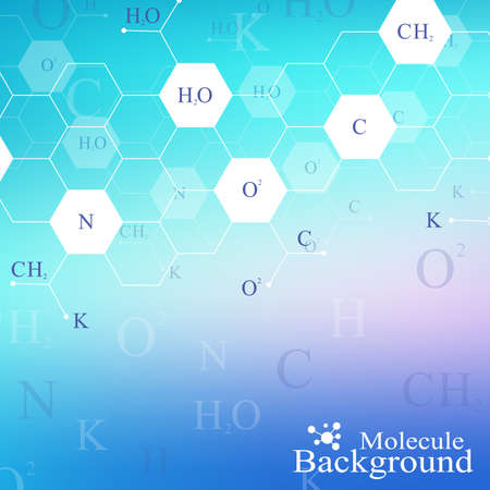 subsidiary: Scientific chemistry pattern. Structure molecule DNA research as concept. Science and technology background communication. Medical scientific backdrop for your design. Vector Illustration. Illustration