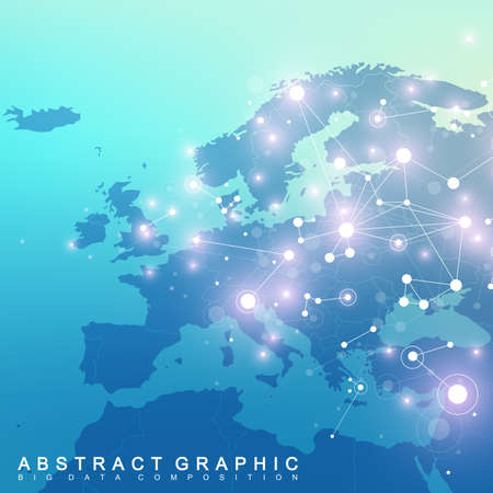 Geometric graphic background communication with Europe Map.