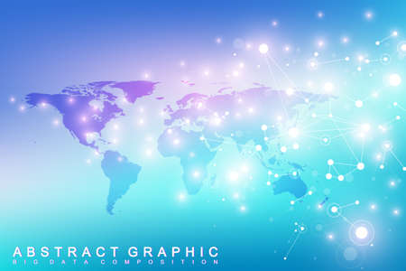 subsidiary: World map with global technology networking concept. Digital data visualization. Lines plexus. Big Data background communication. Scientific vector illustration.