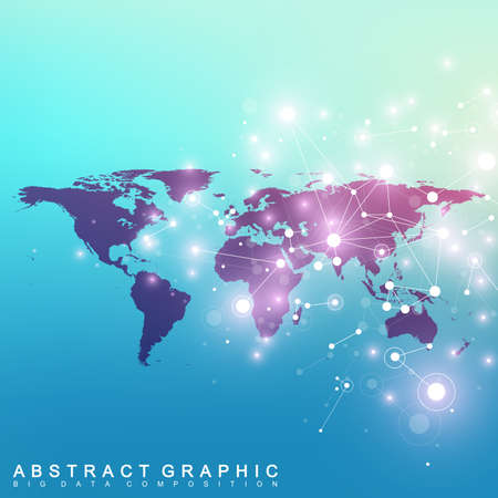 subsidiary: Digital data visualization. Scientific cybernetic particle compounds. Big Data background communication. Vector illustration. Illustration