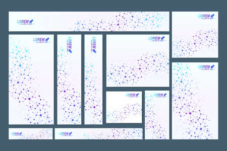 telecommunications: Scientific standard size banners. Geometric abstract presentation. Medical, science, technology, chemistry background molecule and communication. Cybernetic dots. Lines plexus. Card surface. Illustration