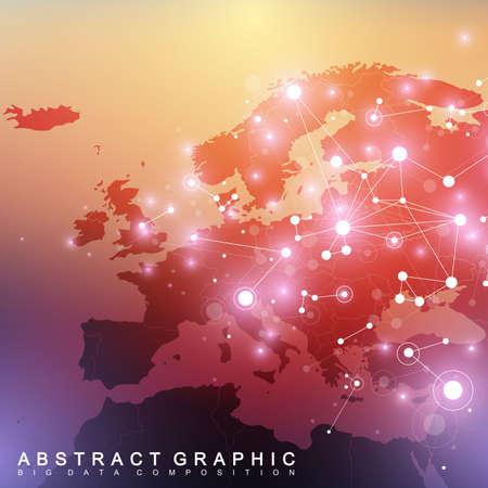 ヨーロッパの地図と幾何学的な背景の画像の通信。大きなデータの化合物と複雑です。視点の背景。最小限の配列。デジタル データの可視化。科学  イラスト・ベクター素材