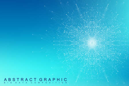 Fractal element with compounds lines and dots. Big data complex. Graphic abstract background communication. Minimal array. Digital data visualization. Lines plexus. Vector illustration.