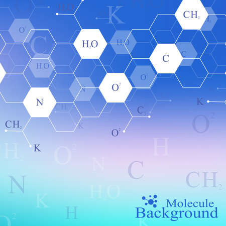 Scientific hexagonal chemistry pattern. Structure molecule DNA research as concept. Science and technology background communication. Medical scientific backdrop for your design. Vector Illustration.
