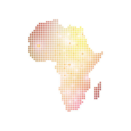 subsidiary: Dotted Africa Map. Geometric graphic background communication. Big data complex with compounds. Digital data visualization. Minimalistic chaotic design, vector illustration.