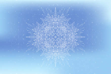 Fractal element with connected lines and dots. Big data complex. Particle compounds. Network connection, lines plexus. Minimalistic chaotic design, vector illustration.
