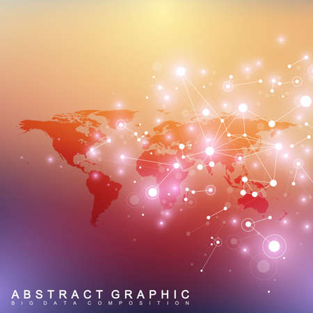 Geometric graphic background communication with Political World Map. Big data complex with compounds. Perspective minimal array. Digital data visualization. Scientific cybernetic vector illustration.