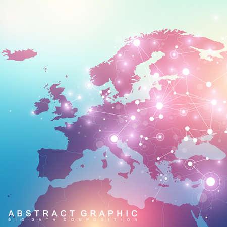Comunicación de fondo gráfica geométrica con el mapa de Europa. Big data complex con compuestos. Telón de fondo de la perspectiva. Arreglo mínimo Visualización de datos digitales. Ilustración de vector científico cibernético.