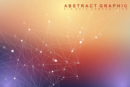 intricacy: Geometric graphic background molecule and communication. Big data complex with compounds. Minimalist vector backdrop. Digital data visualization. Scientific cybernetic illustration.