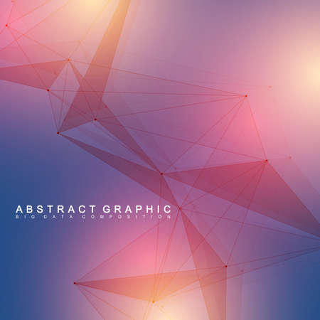 tecnology: Geometric graphic background molecule and communication. Big data complex with compounds. Minimalist vector backdrop. Digital data visualization. Scientific cybernetic illustration.