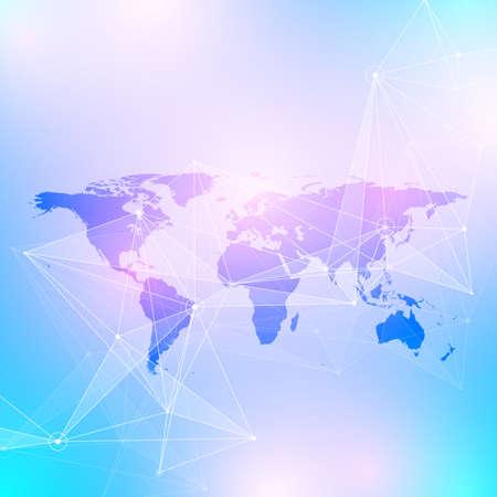 Geometric graphic background communication. Big data complex with Political World Map. Particle compounds. Network connection, lines plexus. Minimalistic chaotic design, vector illustration. Illustration