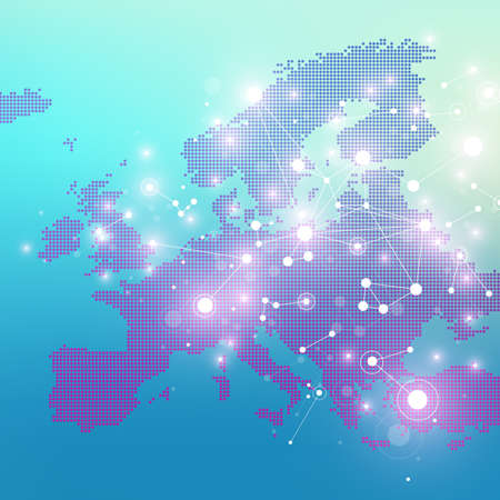 subsidiary: Dotted Europe Map. Geometric graphic background communication. Big data complex with compounds. Digital data visualization. Minimalistic chaotic design, vector illustration Illustration