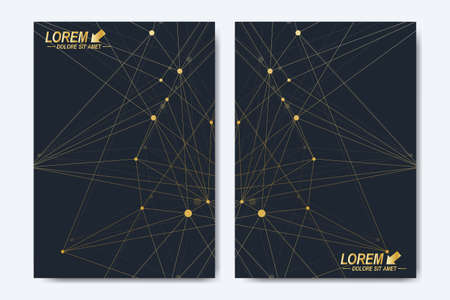 Modern vector template for brochure, Leaflet, flyer, cover, booklet, magazine or annual report. Golden presentation book layout. Geometric pattern with connected lines and dots. Lines plexus circles