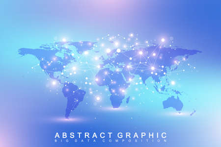 subsidiary: Geometric abstract background with connected line and dots. Network and connection background for your presentation. Graphic polygonal background with World Map. Scientific vector illustration
