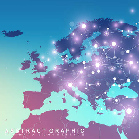 replicate: Geometric graphic background communication with Europe Map. Big data complex with compounds. Perspective backdrop. Minimal array. Digital data visualization. Scientific cybernetic vector illustration