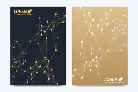 nucleic: Vector template for brochure Leaflet flyer advert cover catalog poster magazine or annual report. Geometric background molecule. Golden cybernetic dots communication. Lines plexus. Card surface