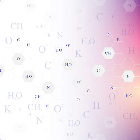 Scientific hexagonal chemistry pattern. Structure molecule DNA research as concept. Science and technology background communication. Medical scientific backdrop for your design. Vector Illustration Illustration