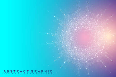 Fractal element with compounds lines and dots. Big data complex. Graphic abstract background communication. Minimal array Big data. Digital data visualization. Vector illustration Illustration