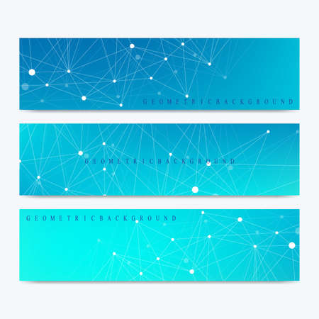 subsidiary: Modern set of vector banners. Modern stylish polygonal pattern with connected line and dots. Molecule and communication background for medicine, science, technology, chemistry Illustration