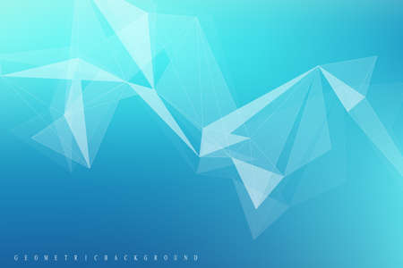 Geometric graphic molecule and communication. Big data complex with compounds. Perspective backdrop. Minimal array. Digital data visualization. Scientific cybernetic illustration Illustration