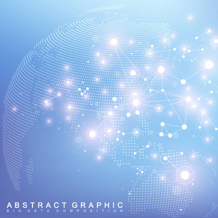 Big data complex world globe. Graphic abstract background communication. Perspective backdrop of depth. Virtual minimal array with compounds. Digital data visualization. Vector illustration Big data.