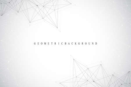 Geometric abstract background with connected line and dots. Graphic background for your design. Vector illustration.