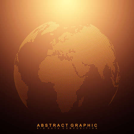 Three-dimensional abstract background planet. Dotted world globe, vector illustration.
