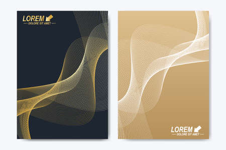 Modern vector template for brochure, leaflet, flyer, cover, catalog, magazine or annual report in A4 size. Business, science and technology design book layout. Presentation with golden waves