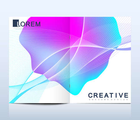 Modern vector template for bi fold brochure, leaflet, flyer, cover, catalog, magazine or annual report in A4 size. Bright abstract pattern background with line texture and gradients.