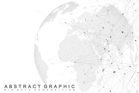Network and data exchange over planet earth in space. Virtual Graphic Background Communication with World Globe. Perspective backdrop of depth. Digital data visualization. Vector illustration. Ilustração