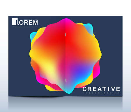 Modern vector template for bi fold brochure, leaflet, cover, catalog, magazine or annual report in A4 size. Colorful texture and gradients. Futuristic trendy design. Illustration