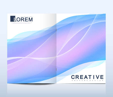 Modern vector template for bi fold brochure, leaflet, cover, catalog, magazine or annual report in size. Colorful fluid waves with gradients. Futuristic trendy design.