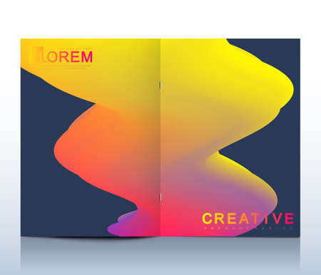 Modern vector template for bi fold brochure, leaflet, flyer, cover, catalog, magazine or annual report in A4 size. Abstract background with fluid multicolored waves. Futuristic trendy design. Illustration