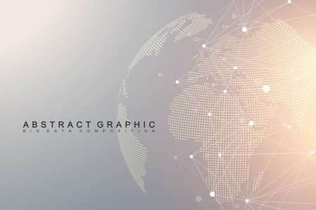 Virtual graphic background communication with dotted world map. Perspective backdrop of depth. Digital data visualization.
