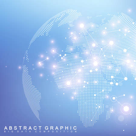 Network and data exchange over planet earth in space. Virtual Graphic Background Communication with World Globe. Perspective backdrop of depth. Digital data visualization. Vector illustration. Çizim