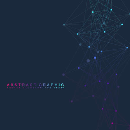 Geometric graphic background molecule and communication. Big data complex with compounds. Perspective backdrop. Minimal array. Digital data visualization. Scientific cybernetic vector illustration. Vectores