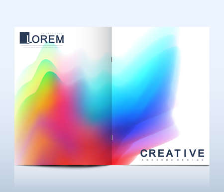 Modern vector template for bi fold brochure, leaflet, flyer, cover, catalog, magazine or annual report in A4 size. Colorful texture and gradients. Futuristic trendy design, watercolors. Illustration