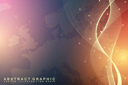 Geometric graphic background communication. Global network connections. Wireframe complex with compounds. Perspective backdrop. Digital data visualization. Scientific cybernetic vector Illustration