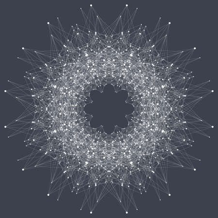 Fractal element with connected line and dots vector illustration
