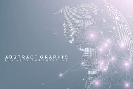 Big data complex world globe. Graphic abstract background communication. Perspective backdrop of depth. Virtual minimal array with compounds. Digital data visualization. Vector illustration Big data Imagens - 93010737