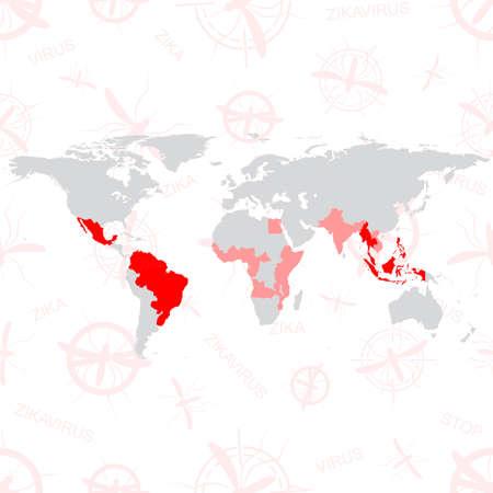 Zika Virus. Zika virus vector world map with editable layers. Zika background