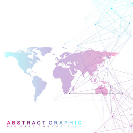 Big data complex world globe. Graphic abstract background communication. Perspective backdrop of depth. Virtual minimal array with compounds. Digital data visualization. Vector illustration Big data