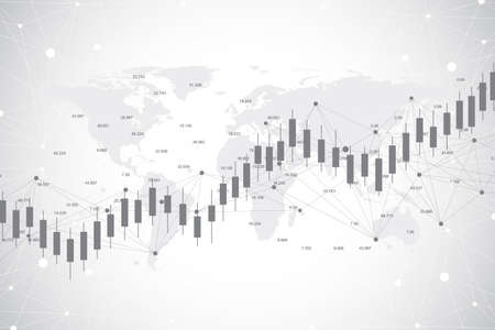Business candle stick graph chart of stock market investment trading on world map background design. Stock market chart. Bullish point, trend of graph. Vector illustration.