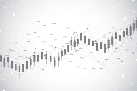 Business candle stick graph chart of stock market investment trading ackground design. Stock market chart. Bullish point, Trend of graph. Vector illustration