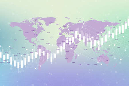 Business candle stick graph chart of stock market investment trading on World map background design. Stock market chart. Bullish point, Trend of graph. Vector illustration