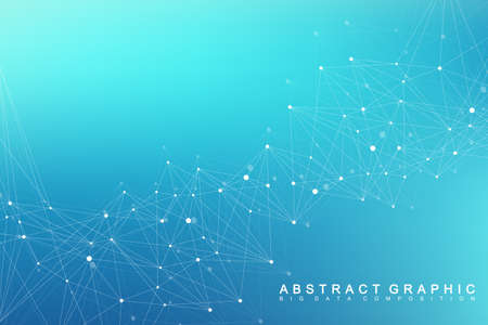 Geometric graphic background molecule and communication. Big data complex with compounds. Perspective backdrop. Minimal array. Digital data visualization. Scientific cybernetic vector illustration. Stock Illustratie